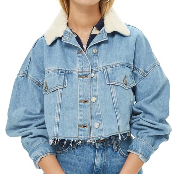 4518341765e NWT Topshop Faux-fur Cropped Denim Jacket